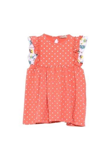 Silversun Kids Bebek Kız Coral Puantiye Desenli Kolları Fırfırlı Örme Elbise Ek 617966 Mercan